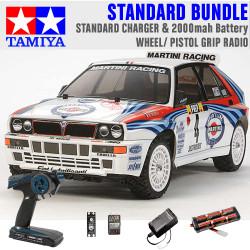 TAMIYA RC 58570 Lancia Delta (TT-02) 1:10 Standard Wheel Radio Bundle