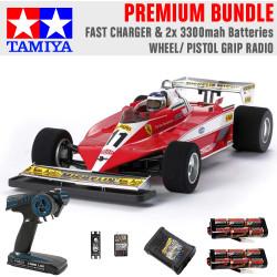 TAMIYA RC 47374 Ferrari 312T3 (F104W) 1:10 Premium Wheel Radio Bundle