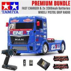 TAMIYA RC 58642 Team Reinert Racing MAN TT-01E 1:10 Premium Wheel Radio Bundle
