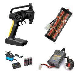 RC Car Wheel Radio, 3300mah Battery, Fast Charger Combo - Perfect for Tamiya RC
