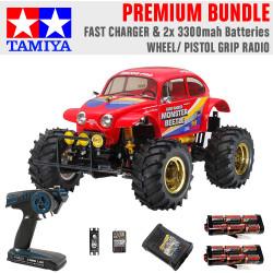 TAMIYA RC 58618 Monster Beetle 2015 off road 1:10 Premium Wheel Radio Bundle
