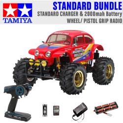 TAMIYA RC 58618 Monster Beetle 2015 off road 1:10 Standard Wheel Radio Bundle