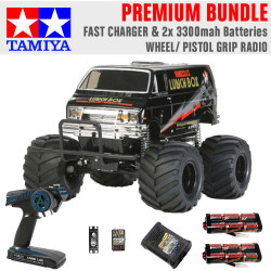 TAMIYA RC 58546 Lunch Box Black Edition 1:12 Premium Wheel Radio Bundle
