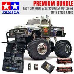 TAMIYA RC 58365 Midnight Pumpkin Monster Truck 1:12 Premium Stick Radio Bundle