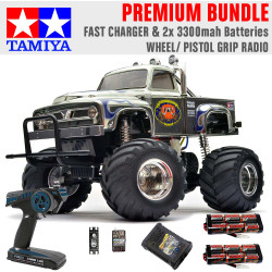 TAMIYA RC 58365 Midnight Pumpkin Monster Truck 1:12 Premium Wheel Radio Bundle