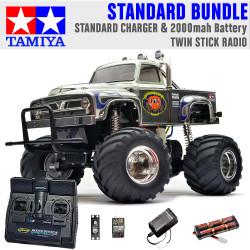 TAMIYA RC 58365 Midnight Pumpkin Monster Truck 1:12 Standard Stick Radio Bundle