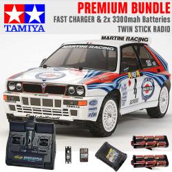 TAMIYA RC 58570 Lancia Delta (TT-02) 1:10 Premium Stick Radio Bundle