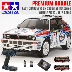TAMIYA RC 58570 Lancia Delta (TT-02) 1:10 Premium Wheel Radio Bundle