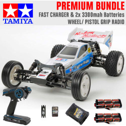 TAMIYA RC 58587 Neo Fighter Buggy DT03 1:10 Premium Wheel Radio Bundle