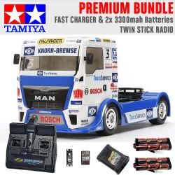 TAMIYA RC 58632 Team Hahn MAN Race Truck TT-01 1:10 Premium Stick Radio Bundle