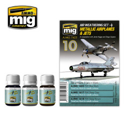 Ammo by Mig Metallic Airplanes & Jets Weathering Set For Model Kits Mig 7423