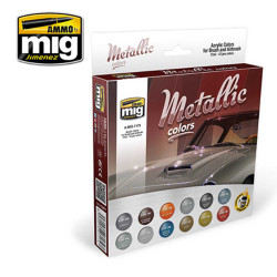 Ammo by Mig Metalic Colours Set For Model Kits Mig 7175