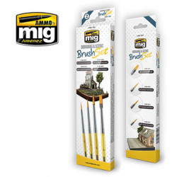 Ammo by Mig Dioramas And Scenic Brush Set For Model Kits Mig 7601