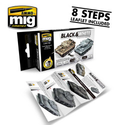 Ammo by Mig Black & White Technique Acrylic Paint Set For Model Kits Mig 7128
