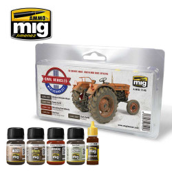Ammo by Mig Civil Vehicles Weathering Set For Model Kits Mig 7145