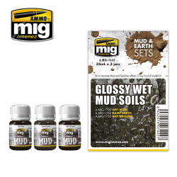 Ammo by Mig Glossy Wet Mud Soils Mud & Earth Set For Model Kits Mig 7442
