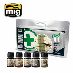 Ammo by Mig First Aid Basic Washes For Model Kits Mig 7447