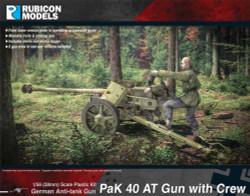 Rubicon Models 280059 Pak 40 At Gun With Crew 1:56 Plastic Model Kit