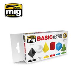 Ammo by Mig Basic Acrylic Colours Set For Model Kits Mig 7178