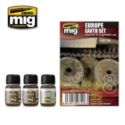 Ammo by Mig Europe Earth Enamel Weathering Set For Model Kits Mig 7408