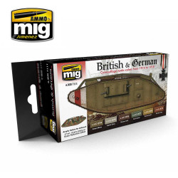 Ammo by Mig WWII British & German Acrylic Paint Set For Model Kits Mig 7111