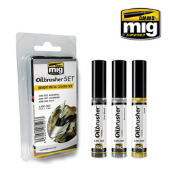 Ammo by Mig Oilbrusher Set Bright Metal Colours For Model Kits Mig 7507