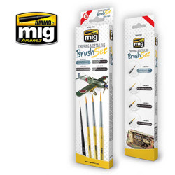 Ammo by Mig Chipping & Detailing Brush Set For Model Kits Mig 7603