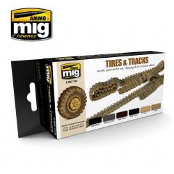 Ammo by Mig Tyres & Tracks Acrylic Paint Set For Model Kits Mig 7105