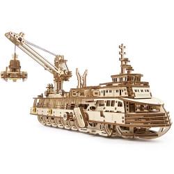 UGEARS Research Vessel - Mechanical Wooden Model Kit 70135