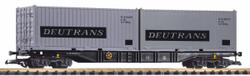 Piko DR Bogie Flat Wagon w/2 x 20' Deutrans Container Load IV G Gauge 37752