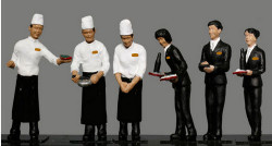 Kato Japanese Twilight Express Dining Car Staff (6) Figure Set N Gauge 24-283