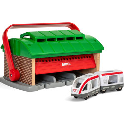 BRIO World 33474 Train Garage with Handle for Wooden Train Set