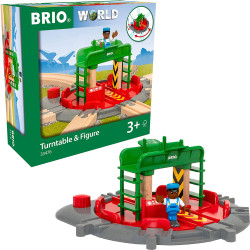 BRIO World 33476 Turntable & Figure for Wooden Train Set