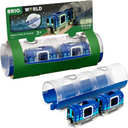 BRIO World 33970 Tunnel & Glow in the Dark Metro Train for Wooden Train Set