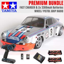TAMIYA RC 58571 Porche Carrera RSR Martini TT-02 1:10 Premium Wheel Radio Bundle