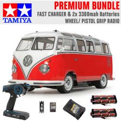TAMIYA RC 58668 Volkswagon Type 2 Combi (M-06) 1:10 Premium Wheel Radio Bundle