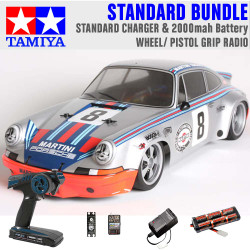 TAMIYA RC 58571 Porche Carrera RSR Martini TT02 1:10 Standard Wheel Radio Bundle