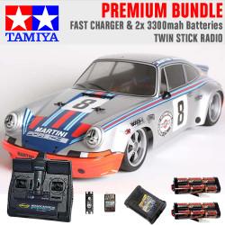 TAMIYA RC 58571 Porche Carrera RSR Martini TT-02 1:10 Premium Stick Radio Bundle