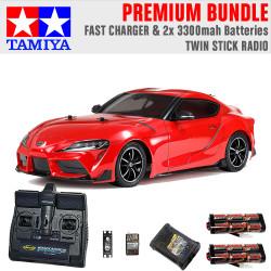 TAMIYA RC 58674 Toyota GR Supra 2019 TT-02 1:10 Premium Stick Radio Bundle