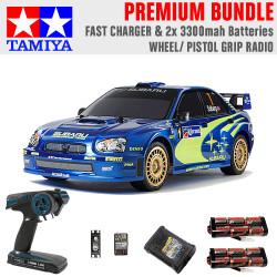 TAMIYA RC 47372 Subaru Impreza Mexico 2004 TT01E 1:10 Premium Wheel Radio Bundle