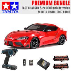 TAMIYA RC 58674 Toyota GR Supra 2019 TT-02 1:10 Premium Wheel Radio Bundle
