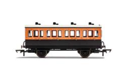 Hornby Coach R40107 LSWR, 4 Wheel Coach, 1st Class, Fitted Lights, 123 - Era 2