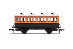 Hornby Coach R40107 LSWR, 4 Wheel Coach, 1st Class, Fitted Lights, 123 - Era 2