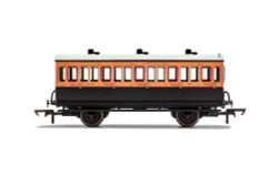 Hornby Coach R40108 LSWR, 4 Wheel Coach, 3rd Class, Fitted Lights, 302 - Era 2
