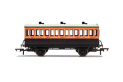 Hornby Coach R40108A LSWR, 4 Wheel Coach, 3rd Class, Fitted Lights, 308 - Era 2