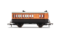 Hornby Coach R40110 LSWR, 4 Wheel Coach, Brake 3rd Class, Fitted Lights, 179 - Era 2
