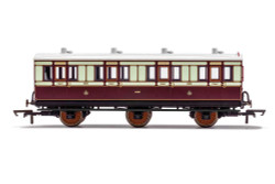 Hornby Coach R40119 LNWR, 6 Wheel Coach, 1st Class, Fitted Lights, 1889 - Era 2