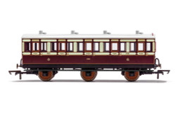 Hornby Coach R40120 LNWR, 6 Wheel Coach, 3rd Class, Fitted Lights, 1523 - Era 2