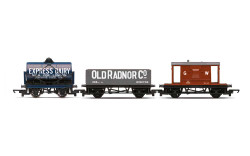 Hornby Railroad R60047 Triple Wagon Pack, Mixed Wagons with Brake Van - Era 3