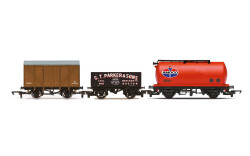 Hornby Railroad R60048 Tripple Wagon Pack, Mixed Wagons with Box Van - Era 3